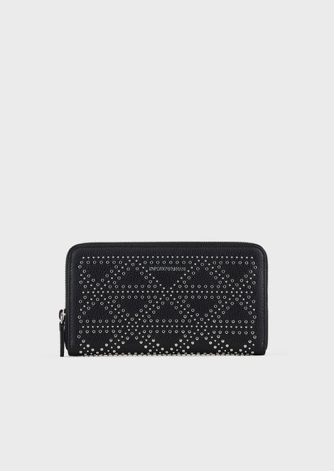Leather wallet with decorative micro-studs