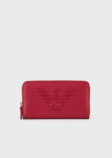 Full-zip wallet with embossed maxi logo