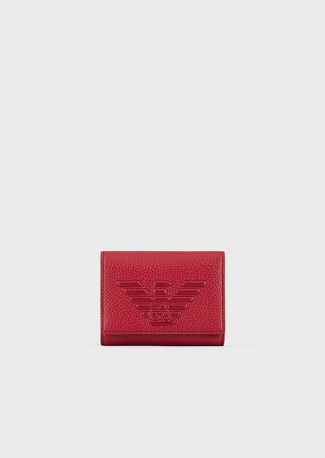 Wallet with flap and embossed maxi logo