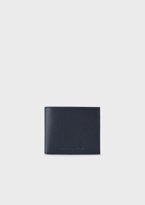 Wallet in tumbled leather with Emporio Armani logo