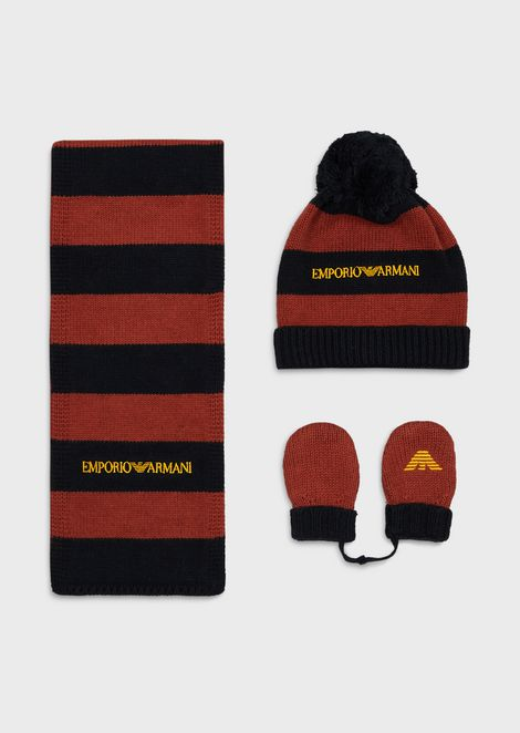 Striped beret, scarf and mittens set