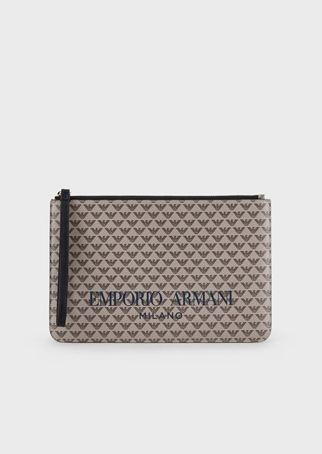 Pochette with all-over monogram and logo print