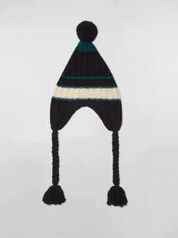 Marni WANDERING IN STRIPES alpaca and virgin wool hat with braids Woman