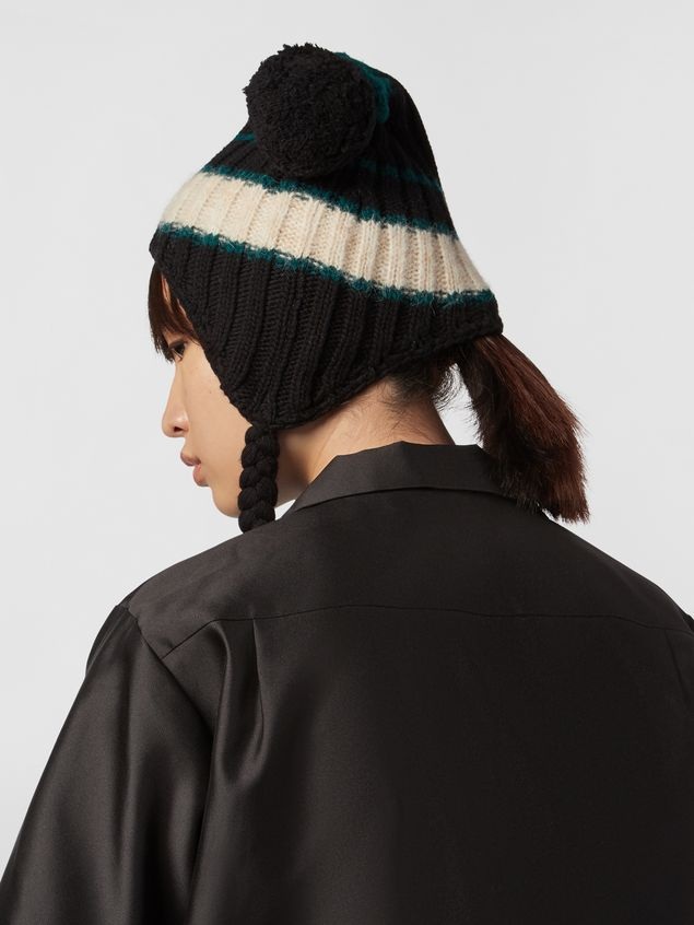 Marni WANDERING IN STRIPES alpaca and virgin wool hat with braids Woman - 3