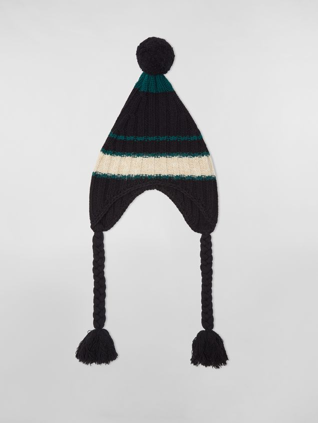 Marni WANDERING IN STRIPES alpaca and virgin wool hat with braids Woman - 1