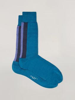 Marni Intarsia socks in blue, purple and black cotton Man