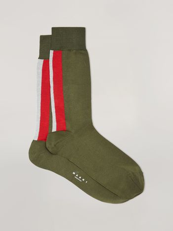 Marni Intarsia socks in green, red and white cotton Man f