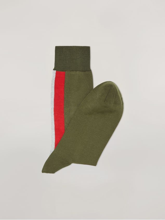 Marni Intarsia socks in green, red and white cotton Man - 2