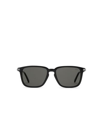 Black Geometric Shape Sunglasses With Grey Lenses