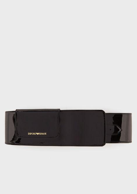 Cinturón de cintura alta en charol sintético