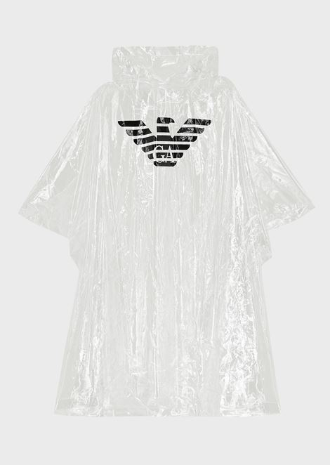 Transparent poncho with oversized eagle print