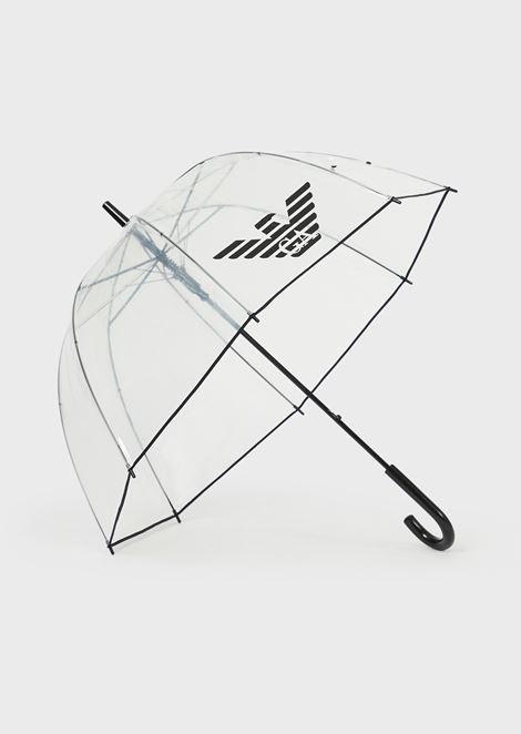 Transparent, dome umbrella with eagle logo