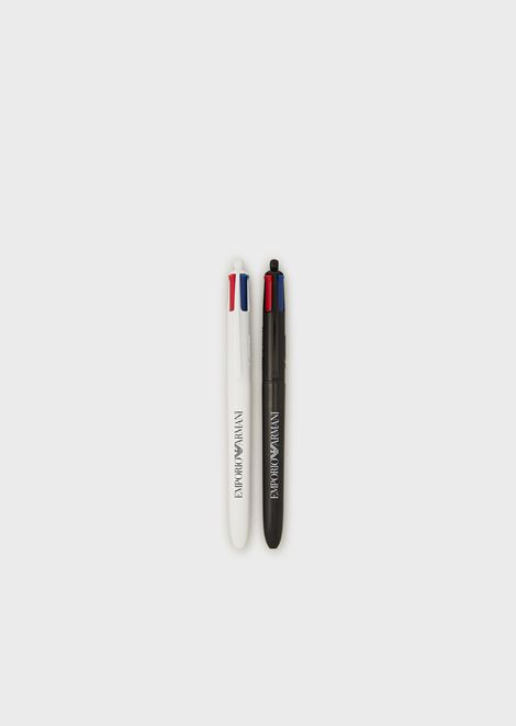 Pack of 2 logoed, multi-coloured pens
