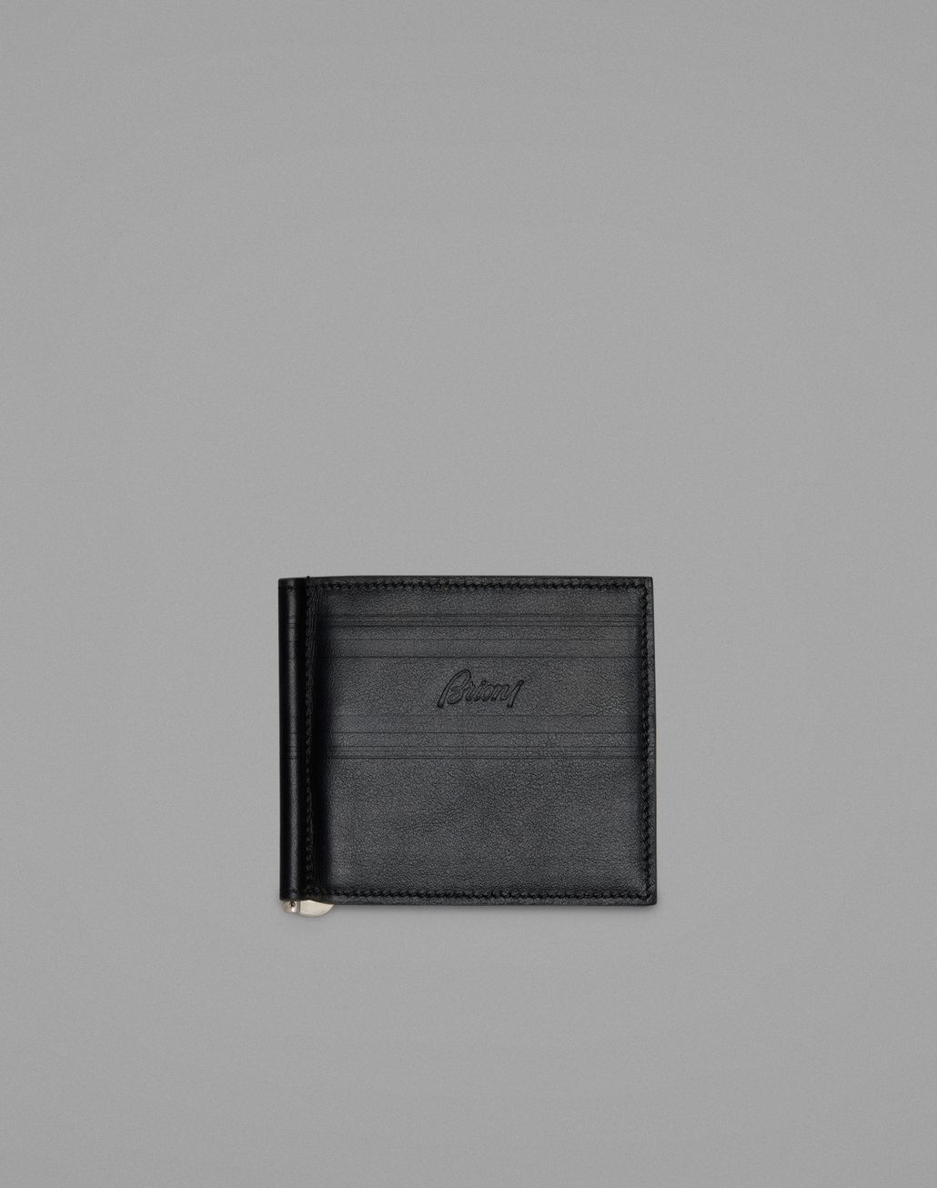 BRIONI Black Clip Wallet Leather Goods Man f
