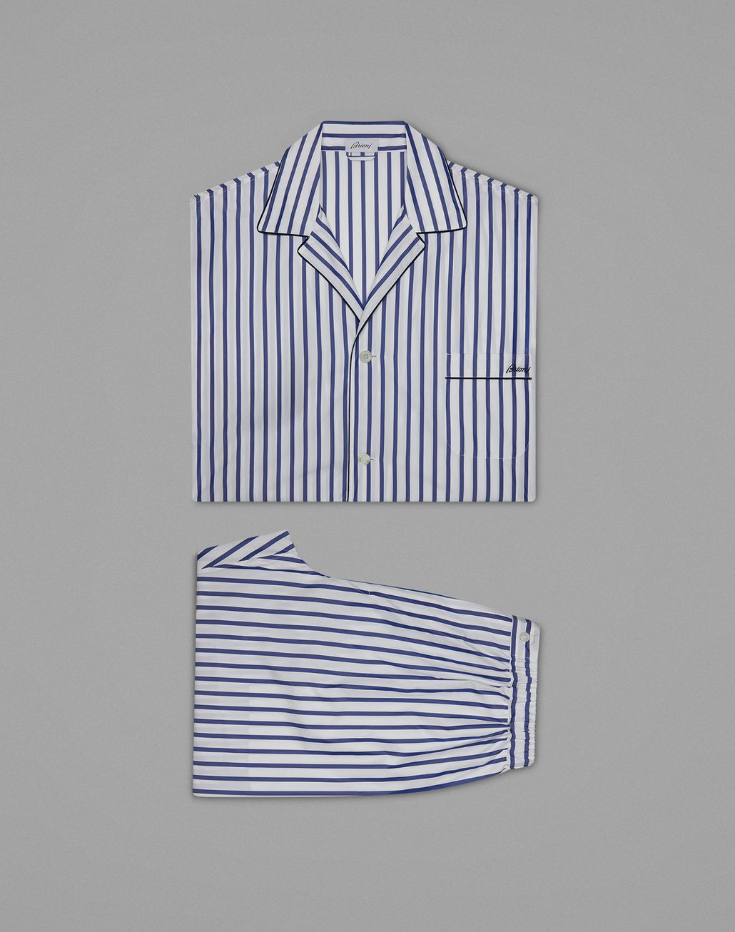 BRIONI Blue Striped Pajamas Loungewear Man f