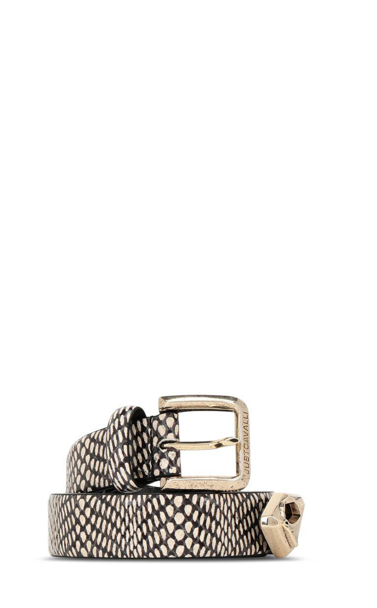 JUST CAVALLI Cobra-print leather belt Belt Woman f