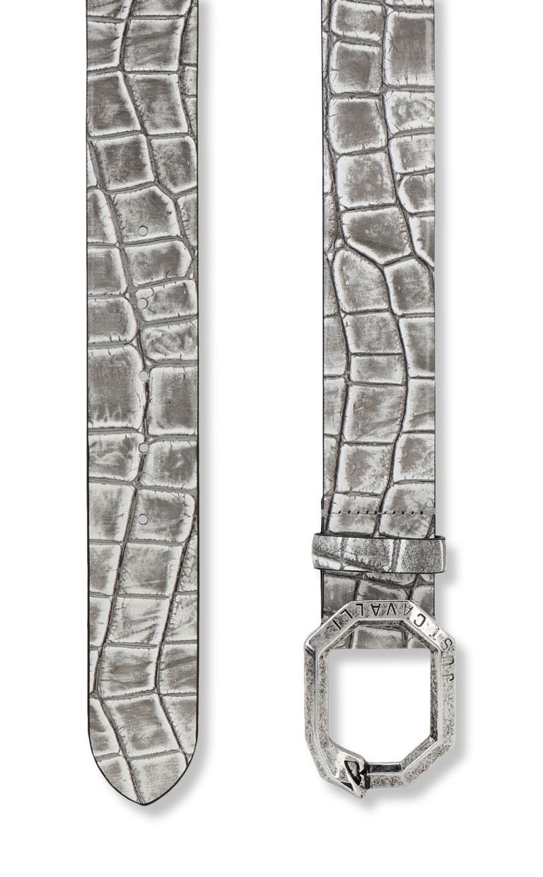 JUST CAVALLI Crocodile-effect leather belt Belt Man d
