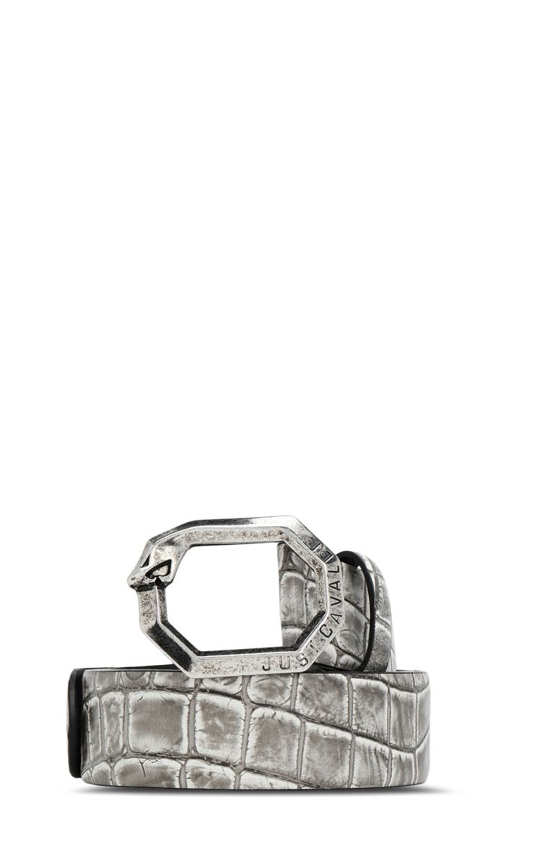 JUST CAVALLI Crocodile-effect leather belt Belt Man f