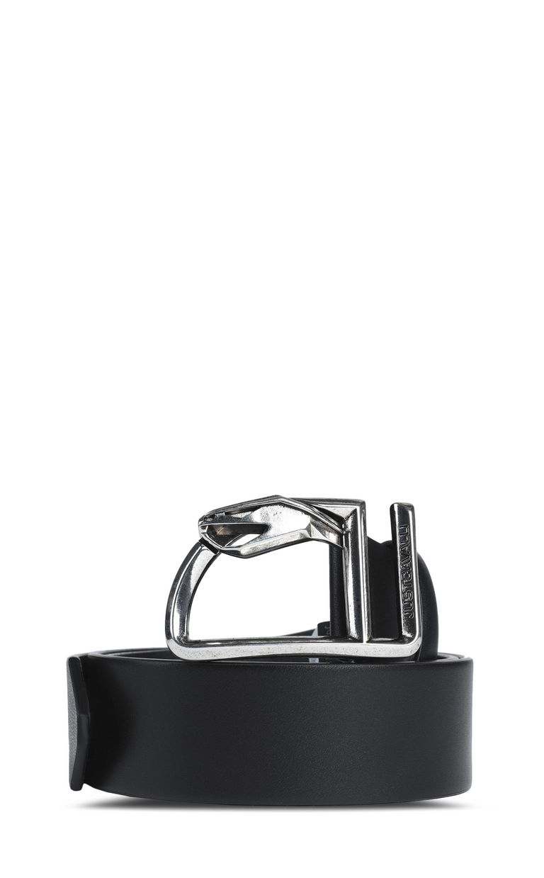 JUST CAVALLI Leather belt with snake buckle Belt Man f