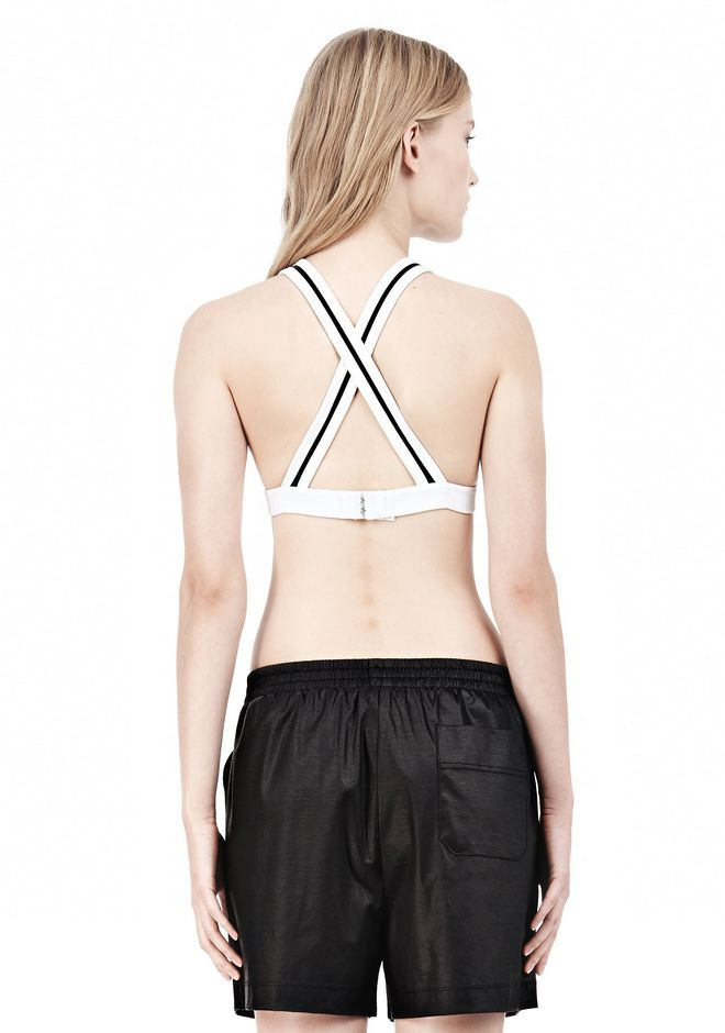 T by ALEXANDER WANG  PIQUE DOUBLE KNIT CRISSCROSS BACK BRA TOP Adult 12_n_d