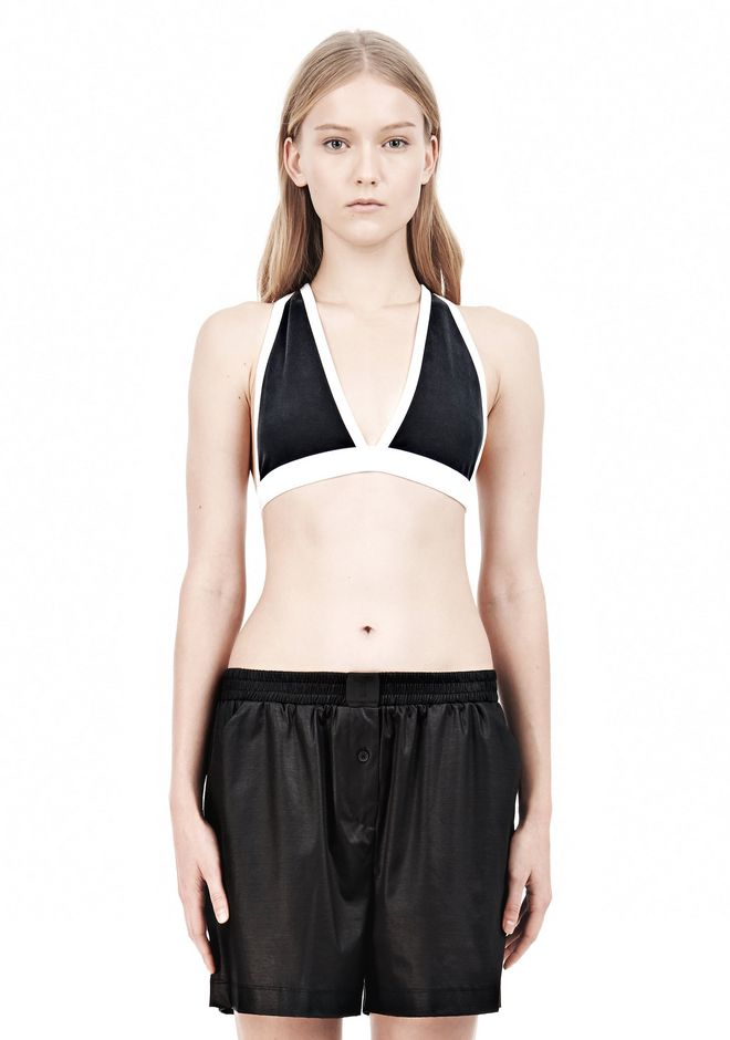 T by ALEXANDER WANG  PIQUE DOUBLE KNIT CRISSCROSS BACK BRA TOP Adult 12_n_e