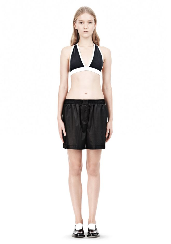 T by ALEXANDER WANG  PIQUE DOUBLE KNIT CRISSCROSS BACK BRA TOP Adult 12_n_f