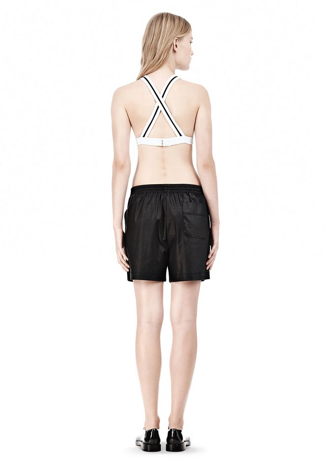 T by ALEXANDER WANG  PIQUE DOUBLE KNIT CRISSCROSS BACK BRA TOP Adult 12_n_r