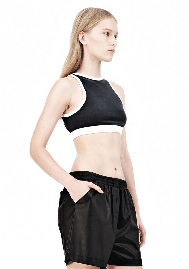 T by ALEXANDER WANG  PIQUE DOUBLE KNIT SPORTS BRA TOP Adult 12_n_a