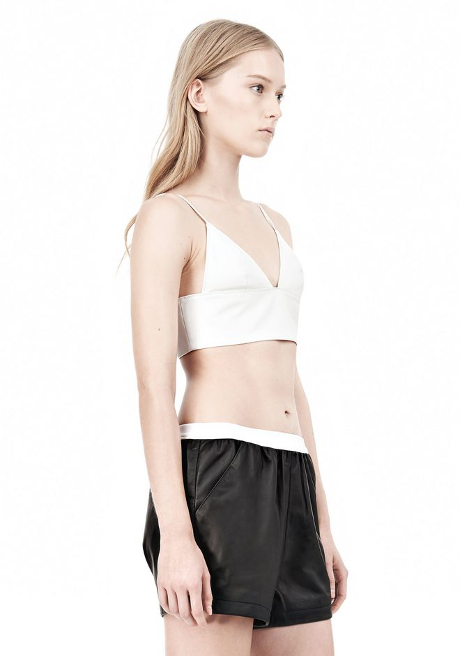 T by ALEXANDER WANG MATTE LAMB TRIANGLE BRALETTE TOP Adult 12_n_a