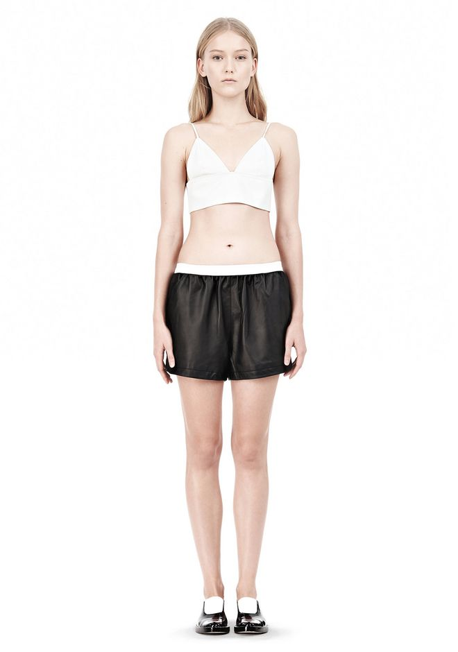 T by ALEXANDER WANG MATTE LAMB TRIANGLE BRALETTE TOP Adult 12_n_f