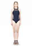 T by ALEXANDER WANG MESH COMBO RACERBACK ONE PIECE SWIMSUIT Swimwear Adult 8_n_f