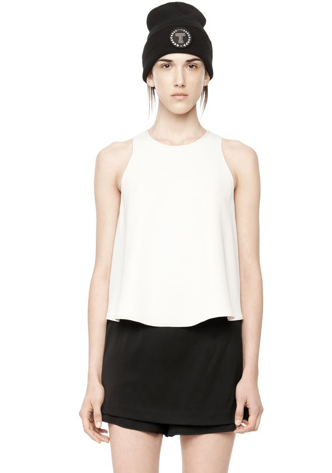 T by ALEXANDER WANG POLY CREPE TANK TOP  TOP Adult 12_n_e