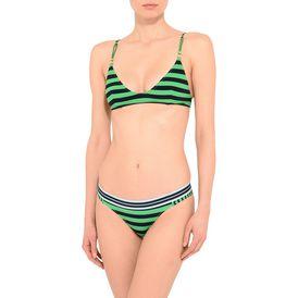 Calypso stripe plunge bikini top