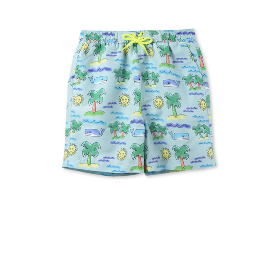Neon Beach Print Taylor Swim Shorts