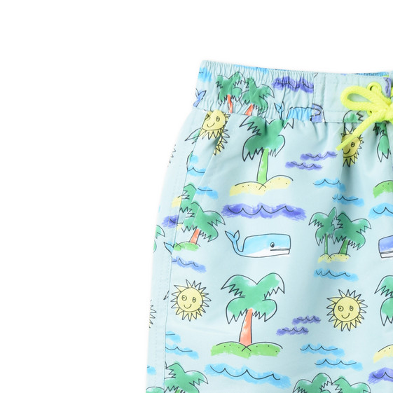 Fluro Beach Print Taylor Swim Shorts