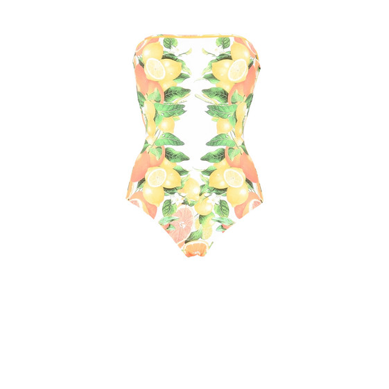 Citrus print bandeau swimsuit