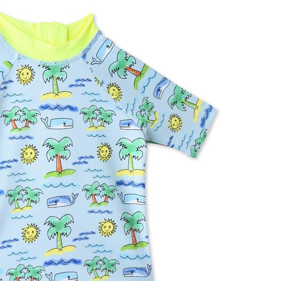フルロ ビーチ プリント スプラッシュ スイム Tシャツ