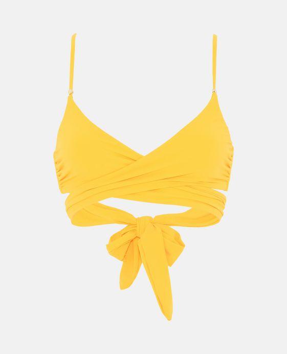 Yellow Wrap Bikini Top