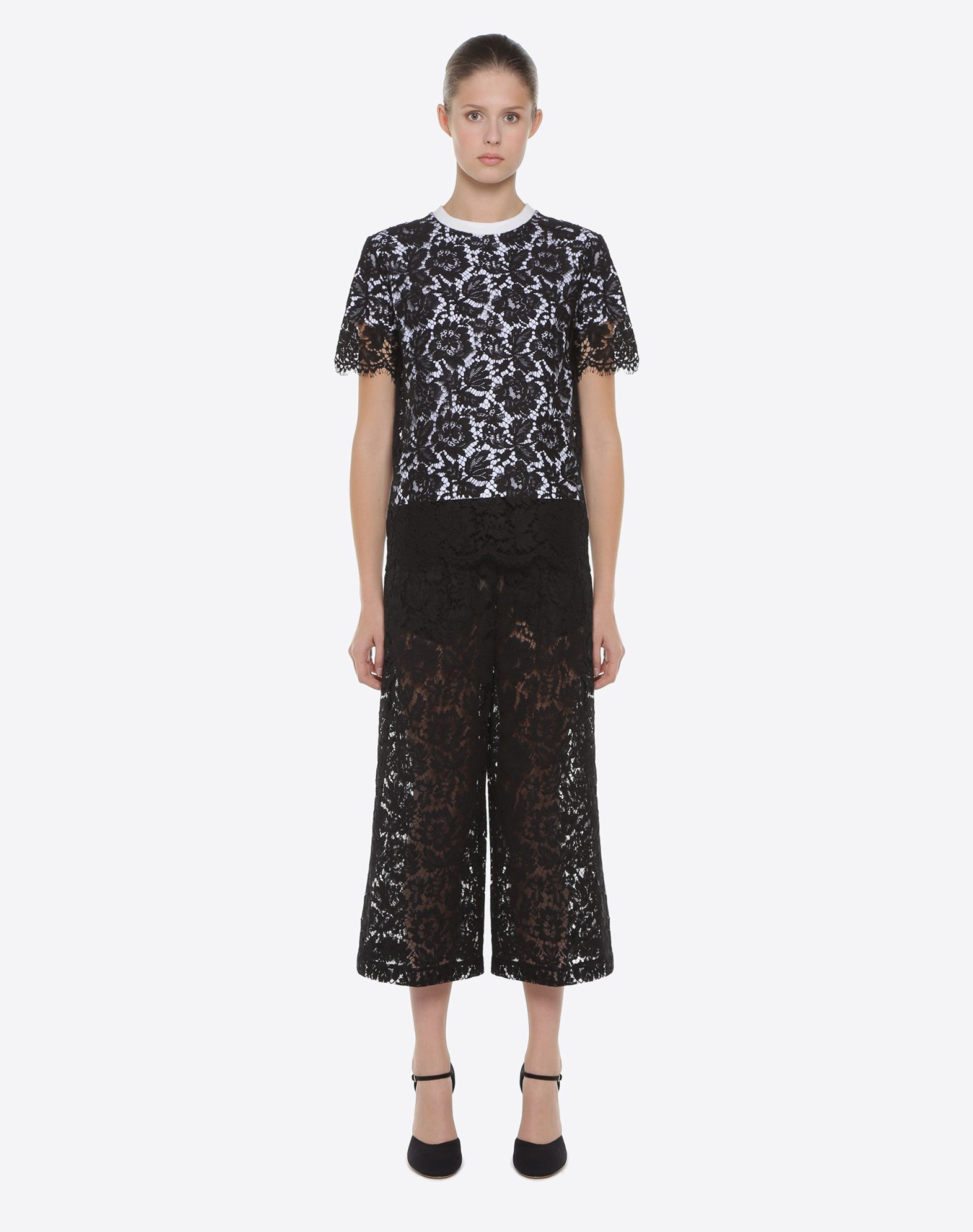 VALENTINO Heavy lace culottes Pants D r