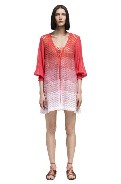 MISSONI MARE Short Beach Dress Coral Woman - Back
