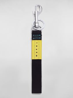 Marni Key ring in ribbon black and yellow Man