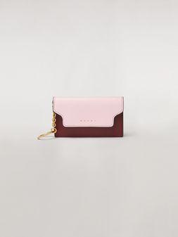 Marni Keychain in pink, white and burgundy saffiano calfskin  Woman