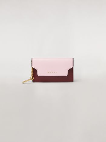 Marni Keychain in pink, white and burgundy saffiano calfskin  Woman