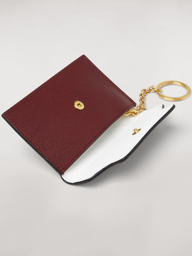 Marni Key ring in saffiano calfskin pink white and burgundy Woman