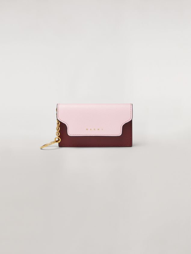 Marni Key ring in saffiano calfskin pink white and burgundy Woman - 1