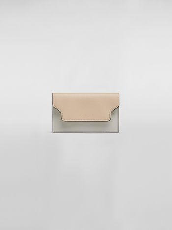 Marni Keychain in tan, yellow and gray saffiano calfskin Woman