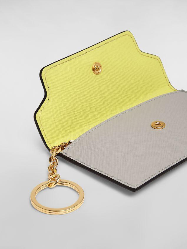 Marni Keychain in tan, yellow and gray saffiano calfskin Woman - 2