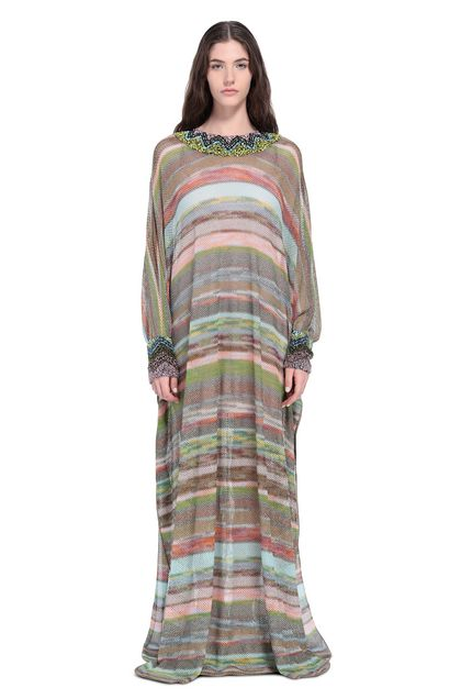MISSONI Long dress Sky blue Woman - Back