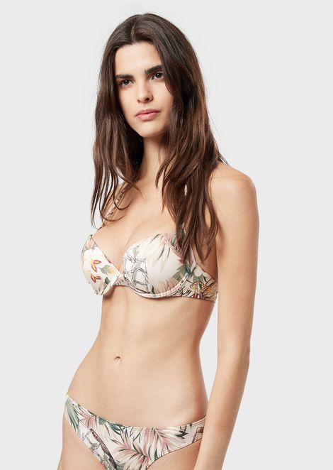 Bathing top with flower pattern