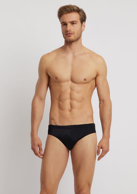 Swimming briefs with printed logo on the back